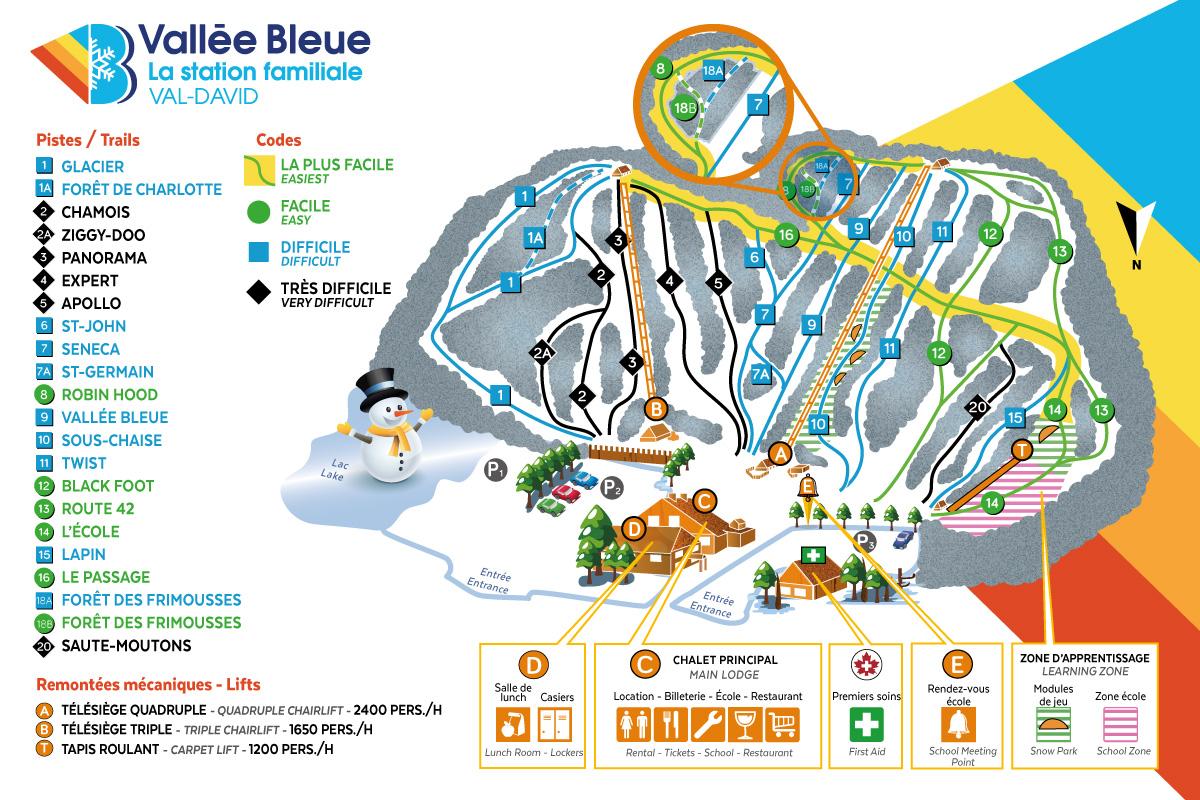 Carte des pistes Vallée Bleue