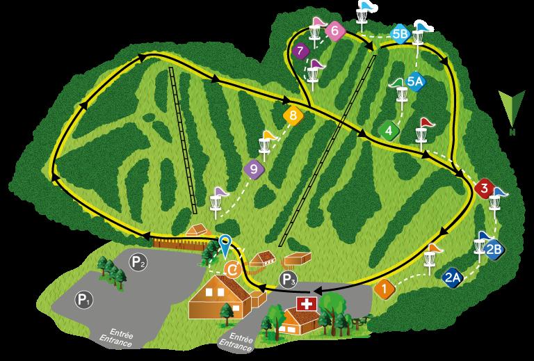Carte de la montagne pour la randonnée et le parcours de Disc GOLF